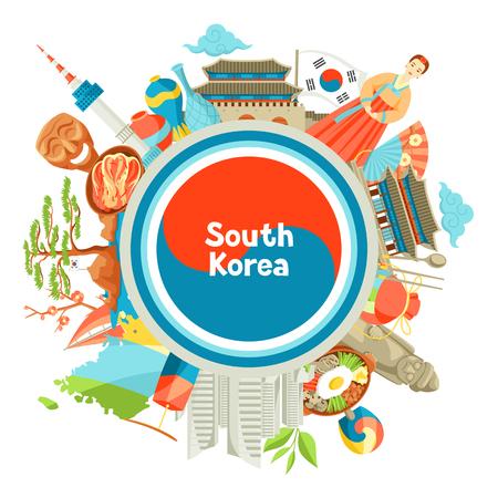Korea Południowa w tle. Koreańskie tradycyjne symbole i przedmioty.