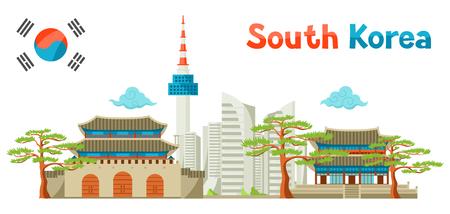 Korea Południowa historyczne i współczesne tło architektury. Ilustracje wektorowe