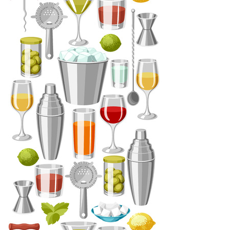 Cocktail bar seamless pattern. Essential tools, glassware, mixers and garnishes.