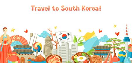 Projekt banera Korei Południowej. Koreańskie tradycyjne symbole i przedmioty.