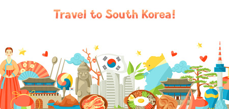 South Korea banner design. Korean traditional symbols and objects. 免版税图像 - 90586654