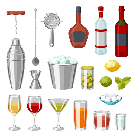 Cocktail bar set. Essential tools, glassware, mixers and garnishes. Stock Illustratie