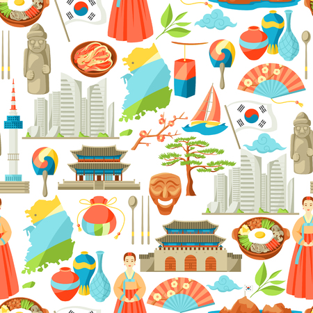South Korea seamless pattern. Korean traditional symbols and objects.  イラスト・ベクター素材