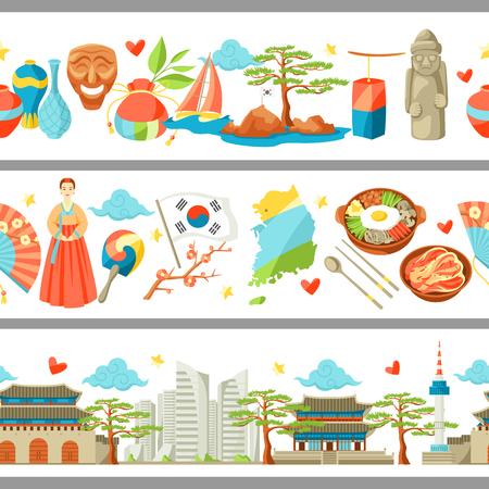 South Korea seamless borders. Korean traditional symbols and objects. Illustration