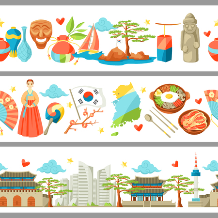 South Korea seamless borders. Korean traditional symbols and objects. Illustration