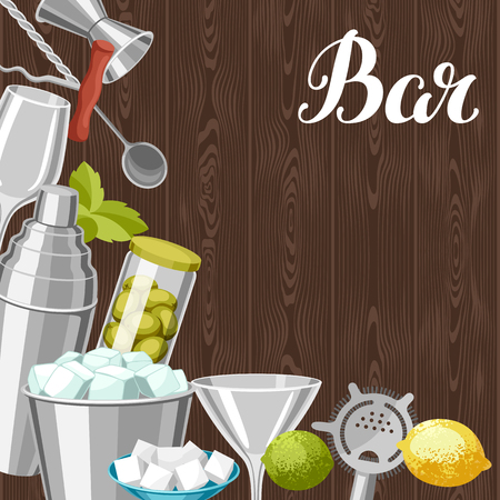 Cocktail bar background. Essential tools, glassware, mixers and garnishes.