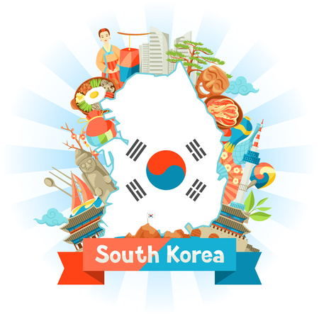 South Korea map design. Korean traditional symbols and objects. Çizim