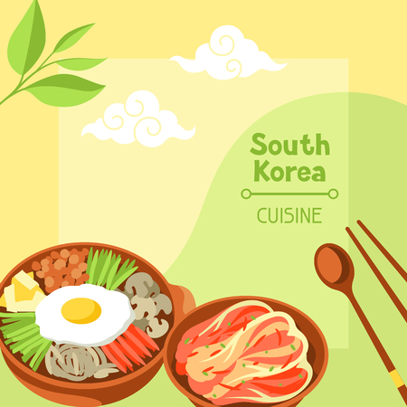 South Korea cuisine. Korean banner design with traditional symbols and objects.