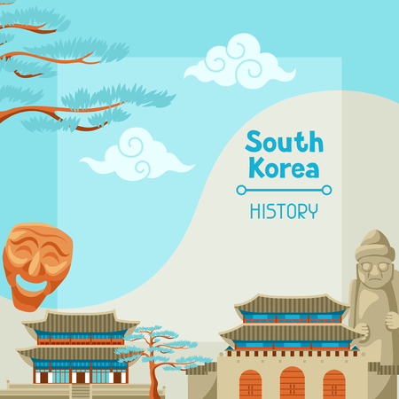 South Korea history. Korean banner design with traditional symbols and objects.
