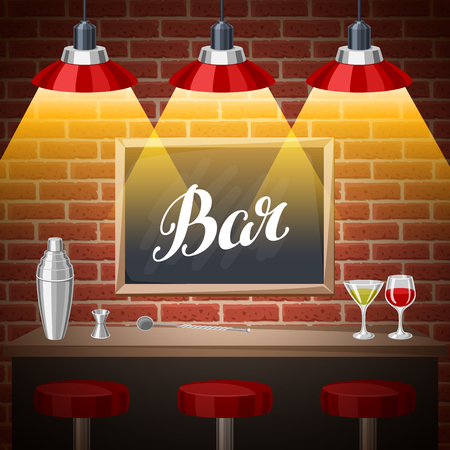 Bar counter in pub or night club. Illustration of interior with accessories, beverages and cocktails. Ilustração