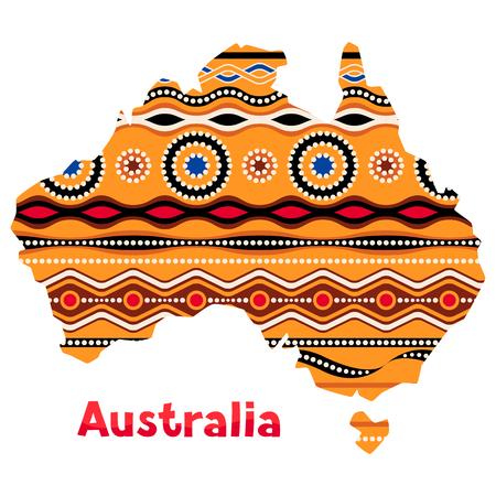 Illustration of Australia map with traditional ornament Иллюстрация