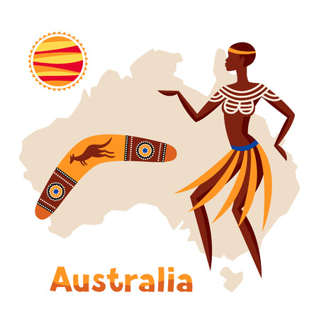 Illustration of Australia map with woman aboriginal and boomerang