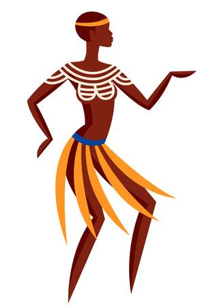Illustration of Australian aborigine woman dancing in national costume Illustration