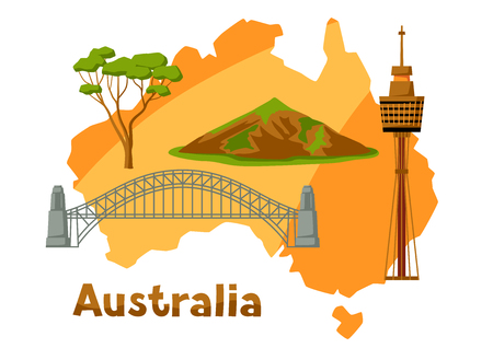 Illustration of Australia map with tourist attractions