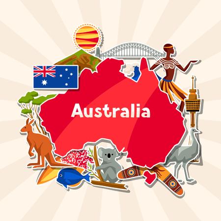 Australië achtergrondontwerp. Australische traditionele stickersymbolen en voorwerpen. Stockfoto - 90940383