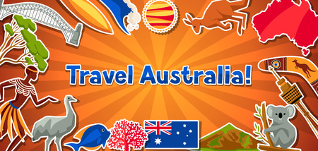 Australia banner design. Australian traditional sticker symbols and objects.