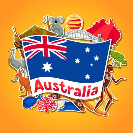 Australia Background Design Australian Traditional Sticker Symbols
