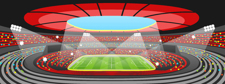 Soccer stadium during sports match. Football arena field.