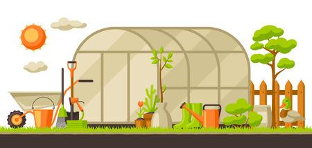 植物やツールと庭の風景のイラスト。シーズンガーデニングのコンセプト。