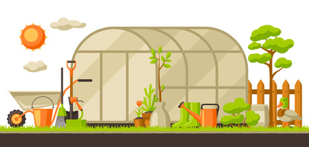 Garden landscape illustration with plants and tools. Season gardening concept. Vectores