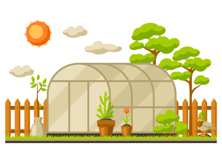 Garden landscape illustration with plants. Season gardening concept. Stock Illustratie