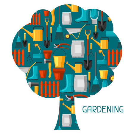 Concept background with garden tools and icons. All for gardening business illustration.