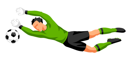 Soccer player with ball. Sports football illustration. Illustration