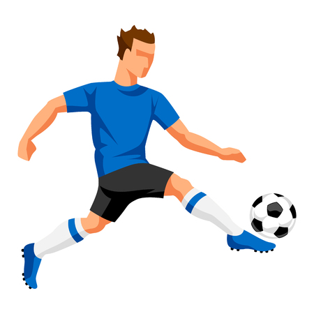 Soccer player with ball. Sports football illustration. Vectores