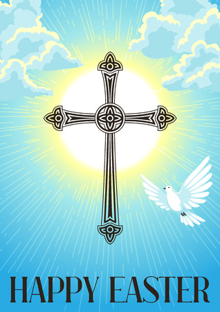 Silhouette of ornate cross with dove. Happy Easter concept illustration or greeting card. Religious symbol of faith against cloudy sunrise sky.