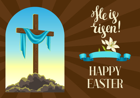 Silhouette of wooden cross with shroud. Happy Easter concept illustration or greeting card. Religious symbol of faith against sunrise sky. Vettoriali
