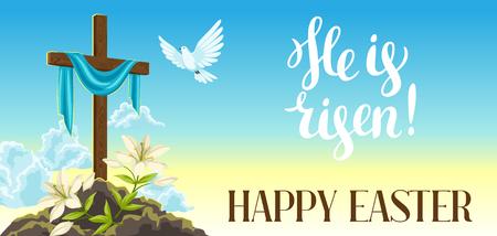 Silhueta da cruz de madeira com saia, pomba e lírios. Ilustração ou cartão feliz do conceito da Páscoa Símbolos religiosos da fé contra o céu do nascer do sol. Ilustración de vector