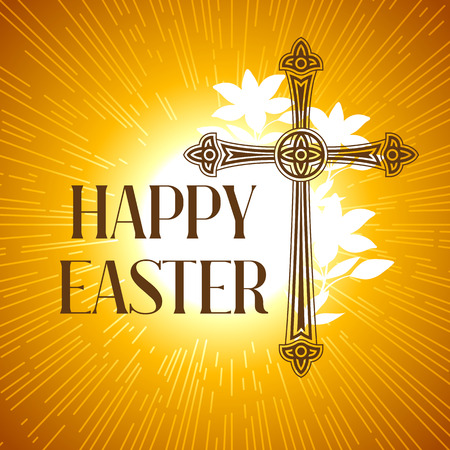 Silhouette of ornate cross. Happy Easter concept illustration or greeting card. Religious symbol of faith against sun lights. Illustration