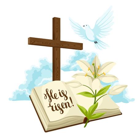 Holzkreuz mit Bibel, Lilie und Taube. Frohe Ostern Konzept Illustration oder Grußkarte. Religiöse Symbole des Glaubens gegen Wolken.