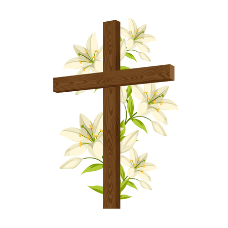Silhouette of wooden cross with lilies. Happy Easter concept illustration or greeting card. Religious symbols of faith.