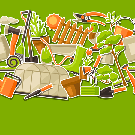 Garden tools and items. Season gardening illustration.
