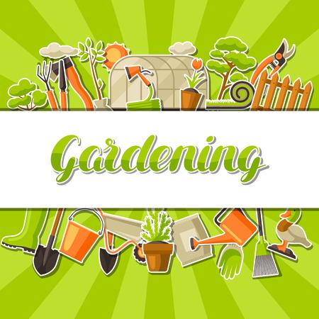 Background with garden tools and items. Season gardening illustration. Stock Illustratie