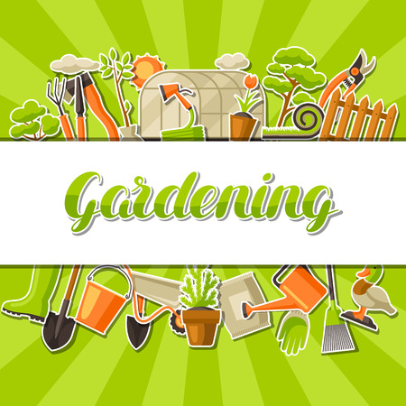 Background with garden tools and items. Season gardening illustration. Vectores