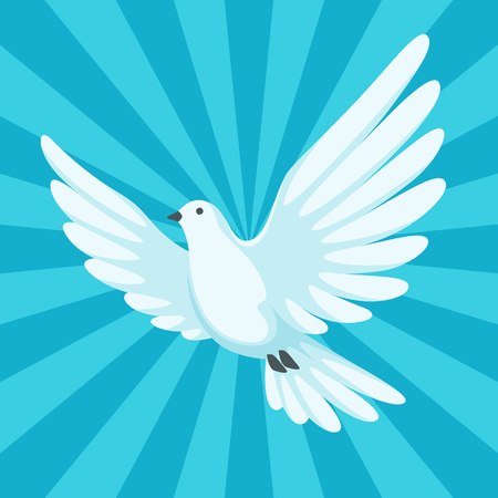 Background with white dove. Beautiful pigeon faith and love symbol. Vettoriali