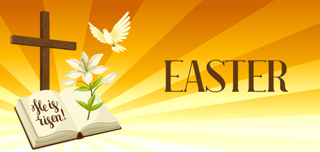 Silhouette of wooden cross with bible, lily and dove. Happy Easter concept illustration or greeting card. Religious symbols of faith against sunrise sky. Illustration