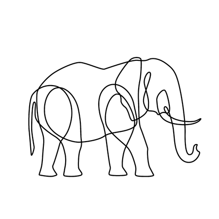 Endless line art illustration of elephant Vettoriali