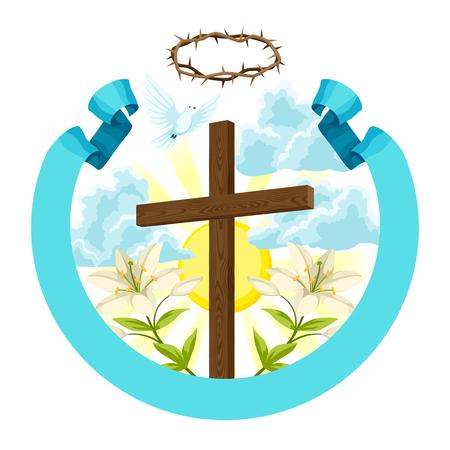 Croix en bois avec épines, lys et colombe. Illustration de concept Joyeuses Pâques ou carte de voeux. Symboles religieux de la foi. Banque d'images - 94364692