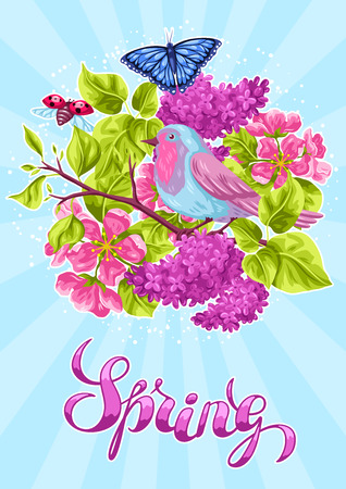 Spring garden background or greeting card. Natural illustration with blossom flower, robin birdie and butterfly.