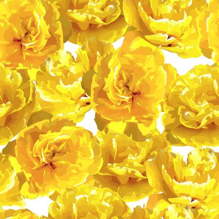 Nahtloses Muster mit flaumigen gelben Tulpen . Schöne realistische Blumen und Knospen Standard-Bild - 94665818