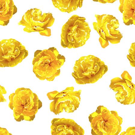 Nahtloses Muster mit flaumigen gelben Tulpen . Schöne realistische Blumen und Knospen Standard-Bild - 94665821