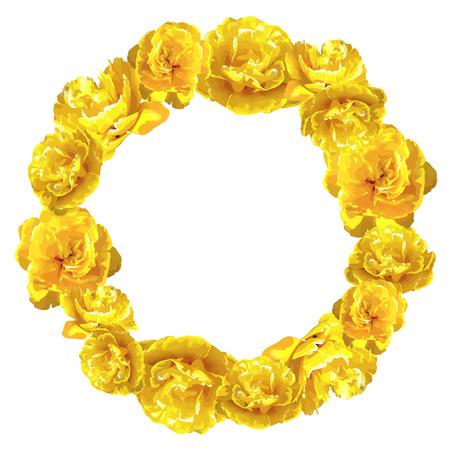 Dekoratives Element mit flaumigen gelben Tulpen . Schöne realistische Blumen und Knospen Standard-Bild - 94665822