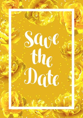 Speichern Sie die Datumskarte mit flaumigen gelben Bäumen . Schöne vertikale Blumen und Knospen Standard-Bild - 94665824