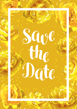 Save the date card with fluffy yellow tulips. Beautiful realistic flowers and buds.