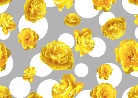 Seamless pattern with fluffy yellow tulips. Beautiful realistic flowers and buds. Illustration