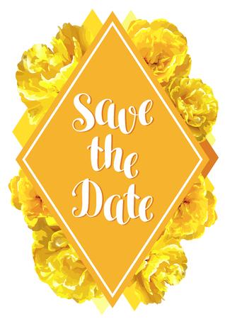 Speichern Sie die Datumskarte mit flaumigen gelben Bäumen . Schöne vertikale Blumen und Knospen Standard-Bild - 94665826