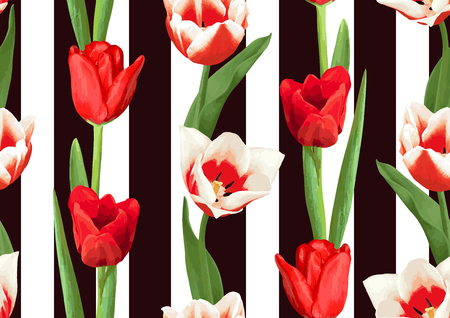Seamless pattern with red and white tulips. Beautiful realistic flowers, buds and leaves.